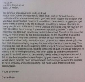 Letter from Carrie Grant to Dr Mitton