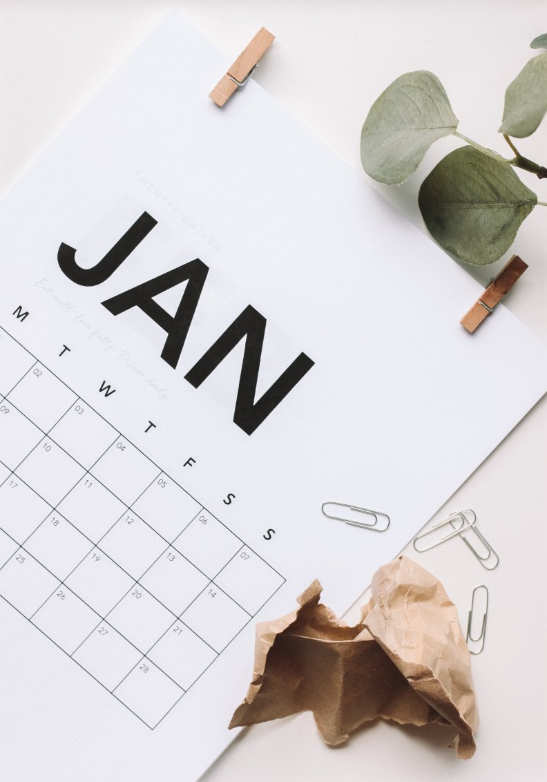A paper calender at the month of January